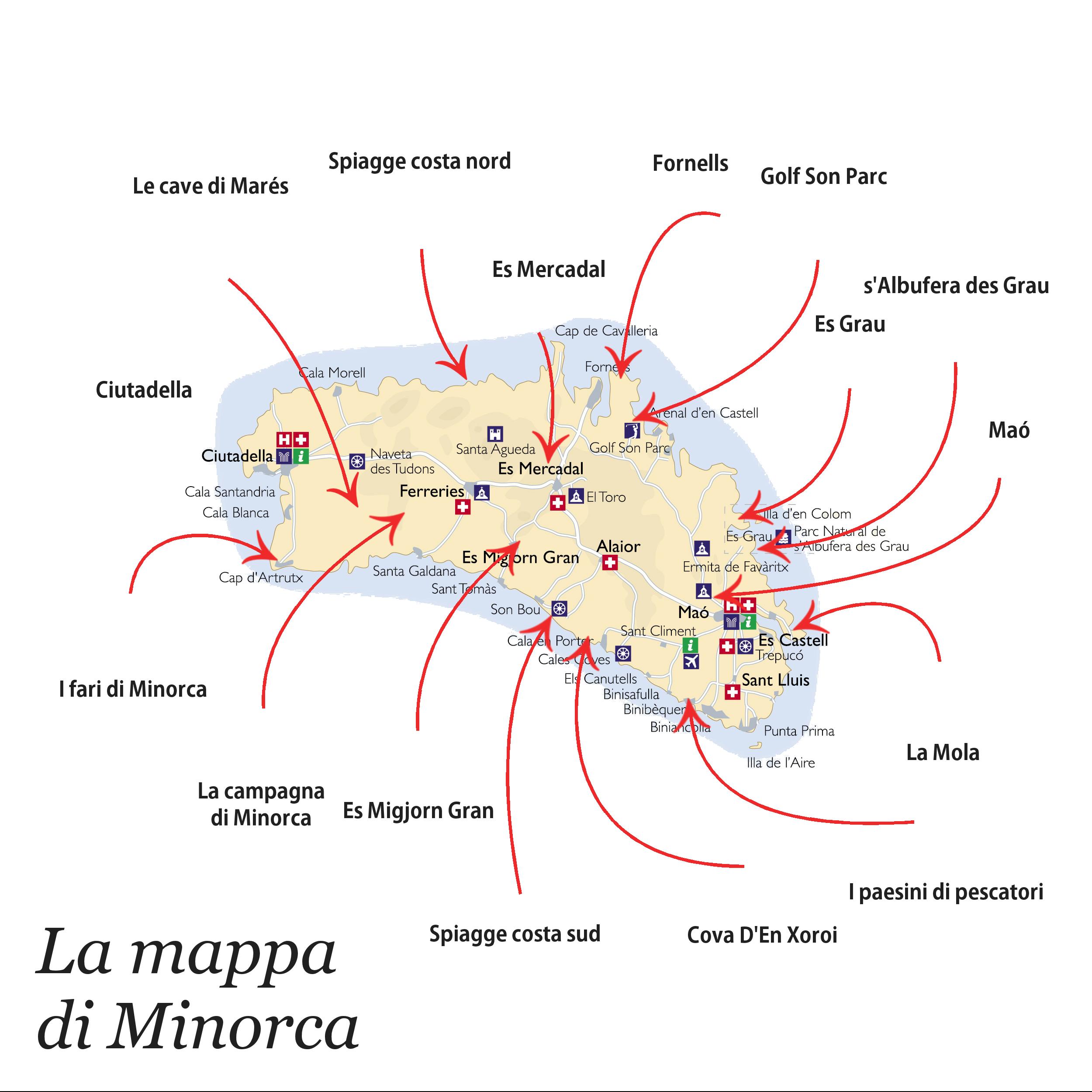 Mappa di Minorca