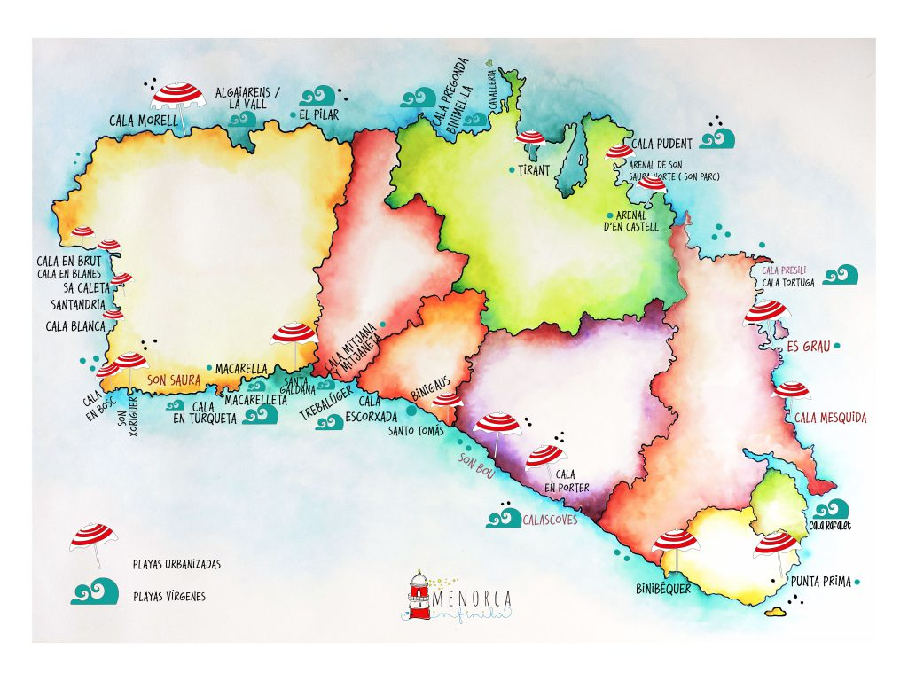 Mapa Playas Menorca