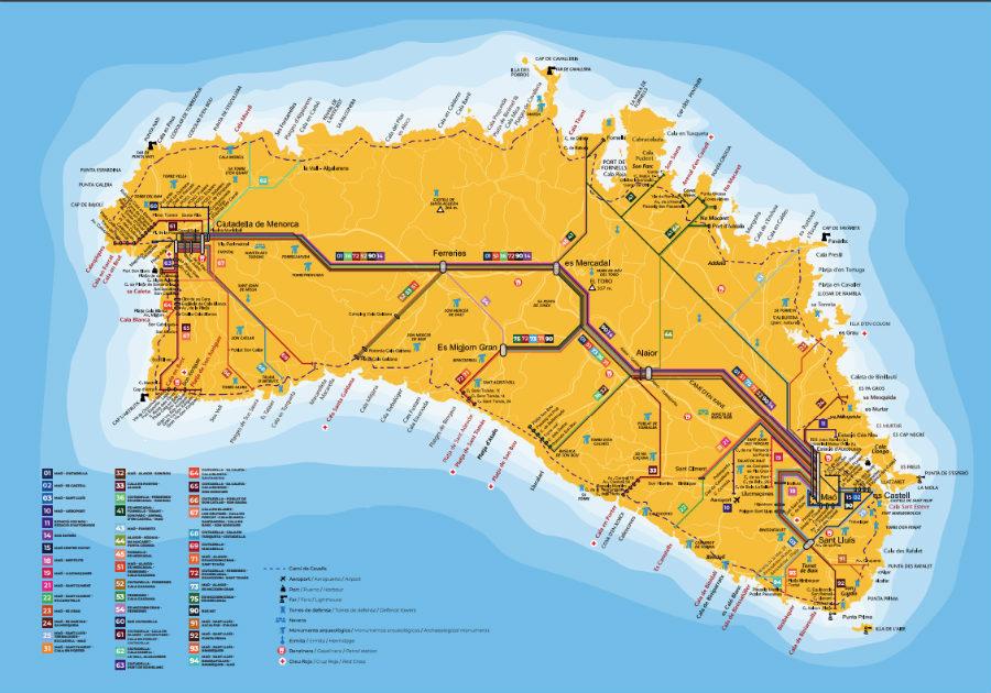mapa transporte publico menorca