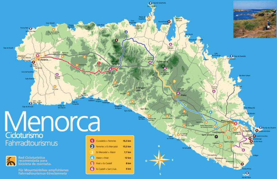 mapa menorca cicloturismo