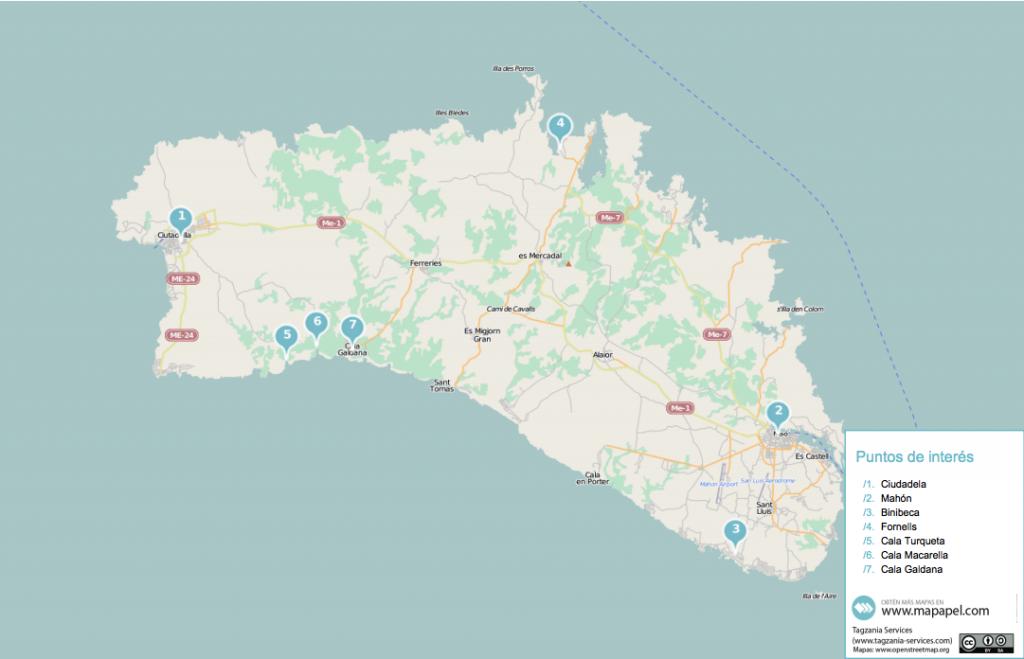 mapa turistico menorca