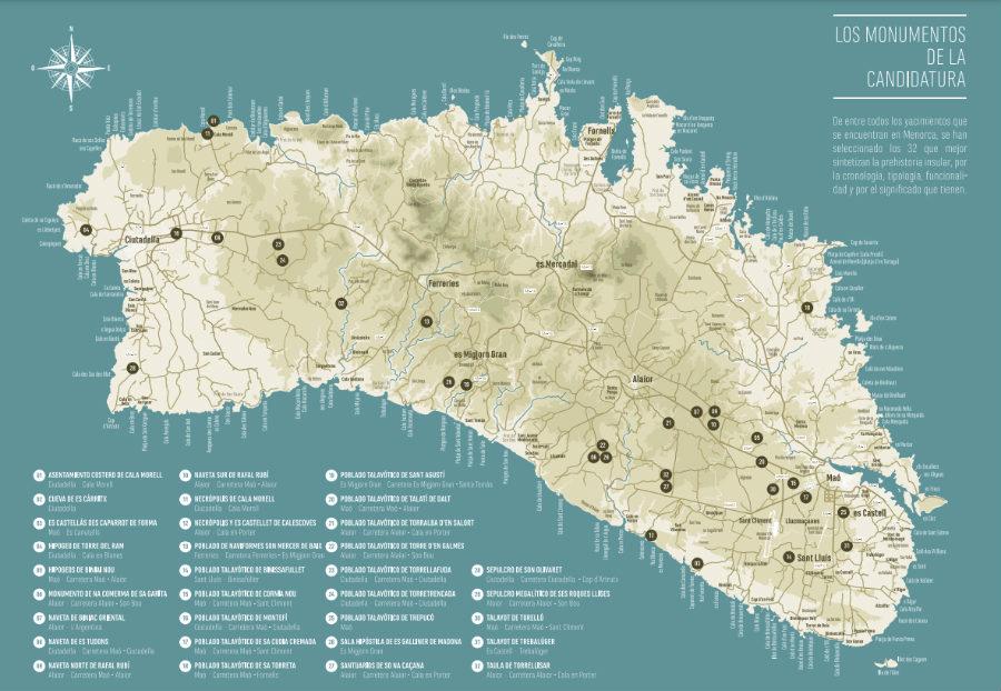 mapa arqueologico de menorca