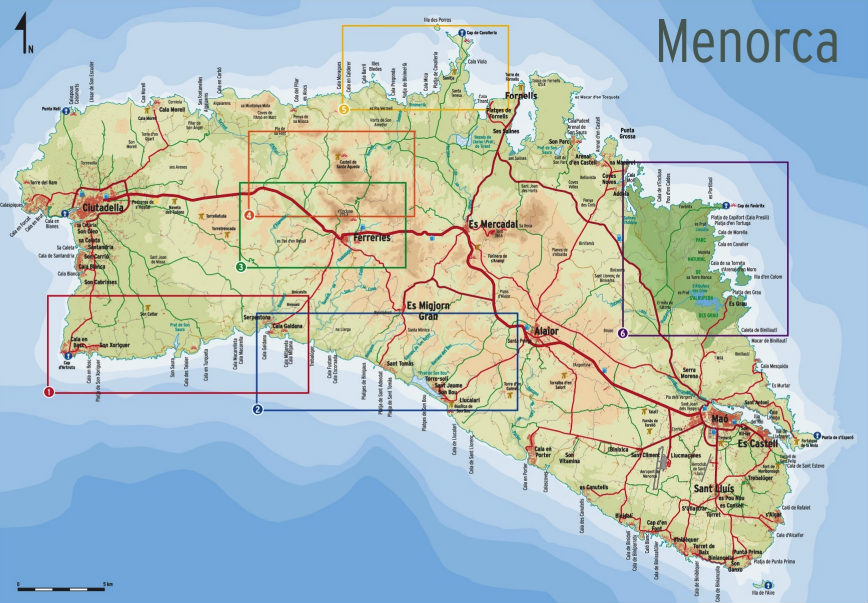 mapa caminos menorca